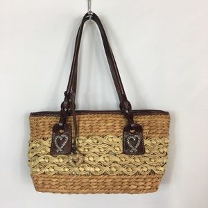 Brighton Woven Straw Purse Brown Leather Straps